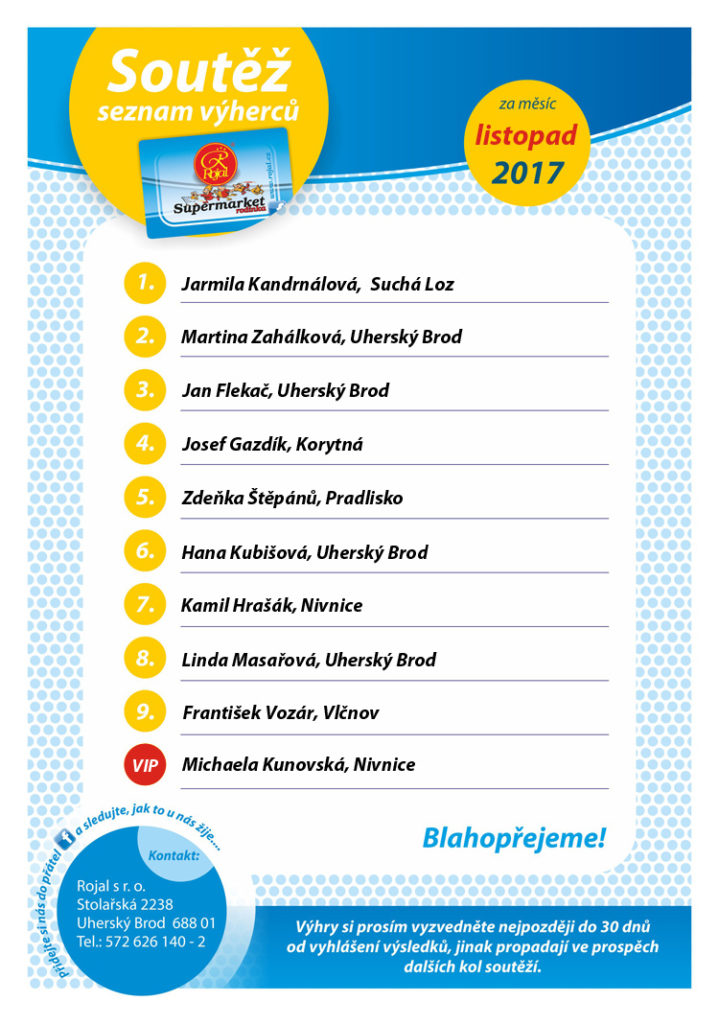 Listina výherců supermarket Rojal s VIP - listopad 2017