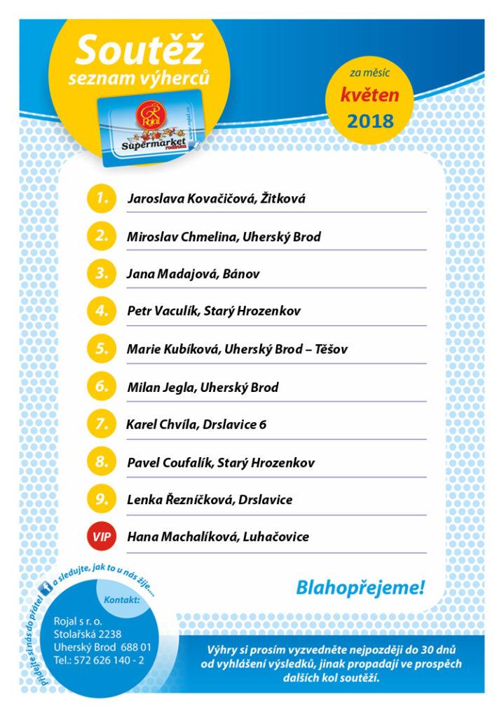 9. Listina výherců supermarket Rojal - květen 2018