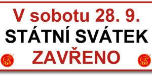 28.09.2019 - státní svátek zavřeno