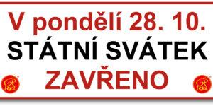 28.10.2019 - Státní svátek ZAVŘENO