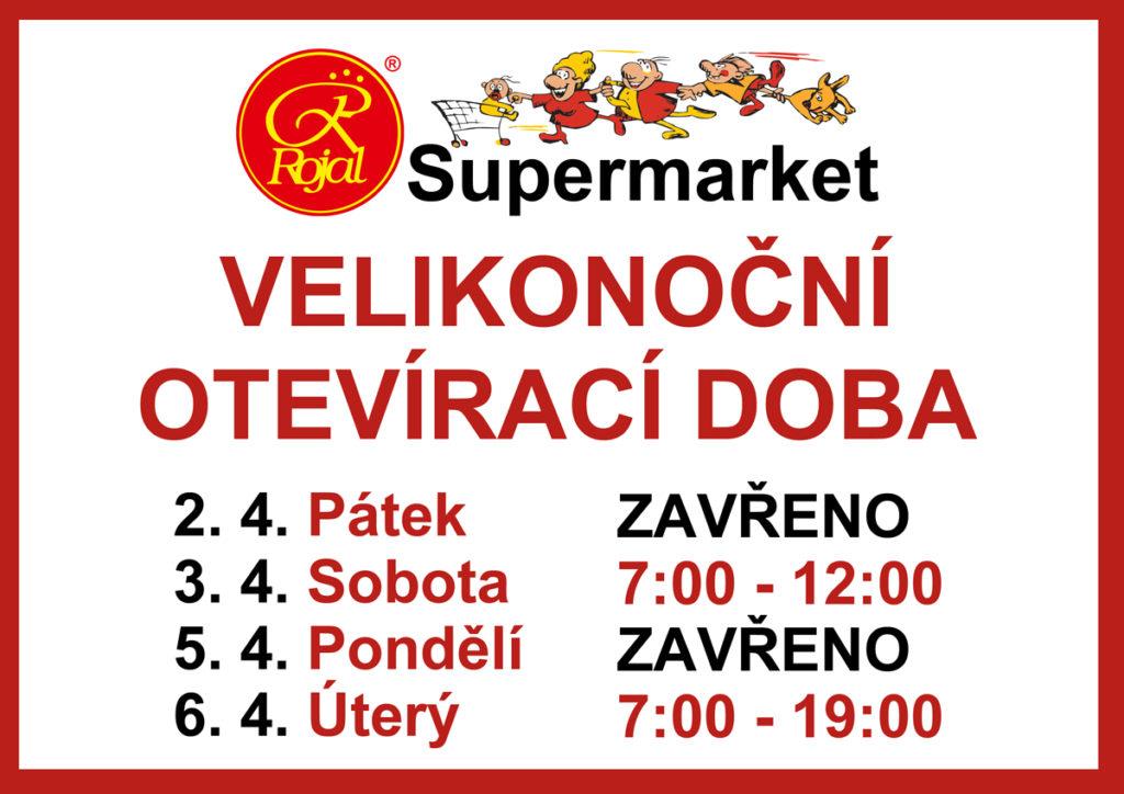 Velikonoční otevírací doba supermarket Rojal Uh. Brod